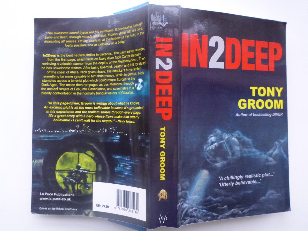 Oil on board. 30x40cm. Book cover for Tony Grooms book. In 2 Deep. A nautical thriller set in Gibral
